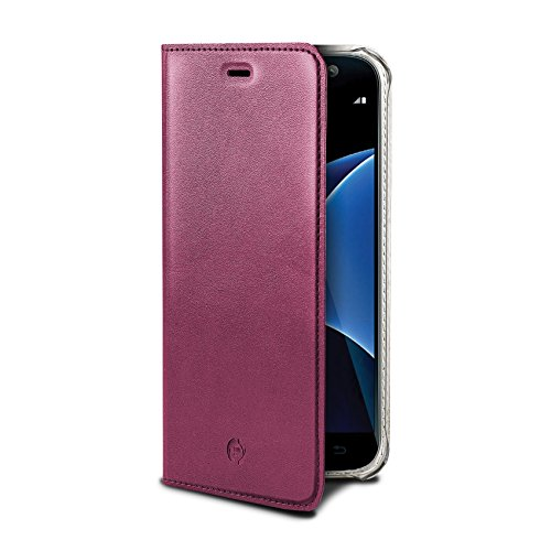 Celly Airpelle Agenda Etui portefeuille pour Samsung Galaxy S7 Edge Rose