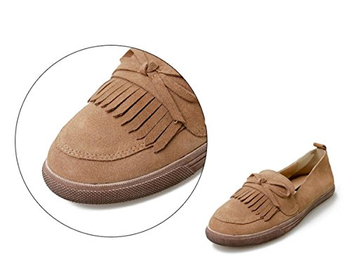 Damen Fall Neue EUR36UK354 Schuhe Schuhe Aprikose Runde Pumps Frühling Scrub Kopf Single Soles Tie BROWN Party Work Soft Tassel Brown Freizeit NVXIE Flats Bow dUq5gdw