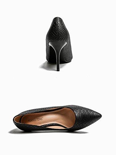 Bequeme Absätze Frühlingsmode Spitzte Schwarz Mund Flacher Schuhe dünnen größe Hohe Einzelne Schuhe Absatz LBDX Hochhackige Hohen 34 Farbe OH0wOqd