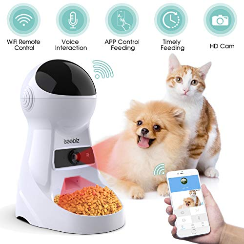 Iseebiz Automatic Pet Feeder with Camera, App Control Smart Feeder Cat Dog Food Dispenser, 2-Way Audio, Voice Remind…