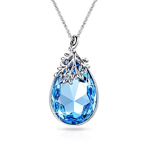 Alantyer Pendant Necklace Gifts for Women Girls Aquamarine Blue Swarovski Crystal Birthstone Jewelry Birthday Anniversary Choice, Lucky Olive Leaf Aquamarine Swarovski Crystal Pendant