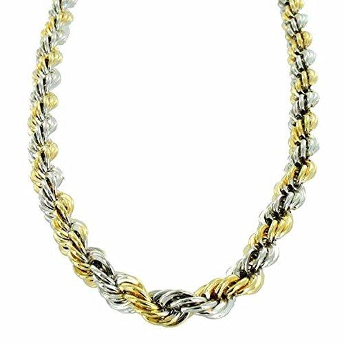 Collier deux tons diamant coupe corde chaîne [8mm]-61cm