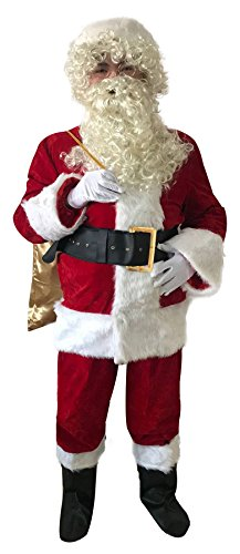 Laxllent Thick Plush Santa Suit Adult Plus Size Costume-XXL