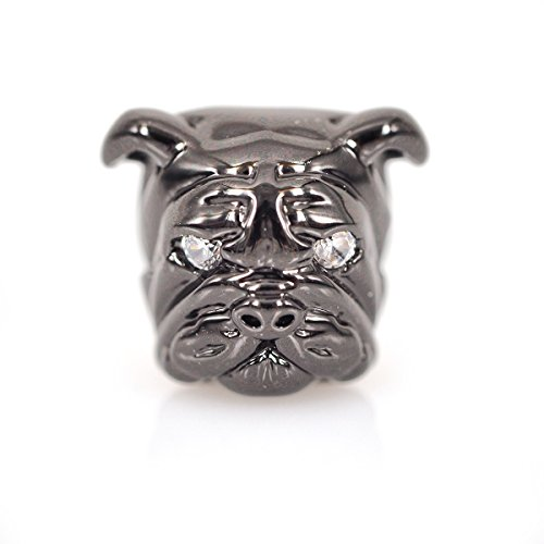 - SouthBeat Micro Pave CZ Bulldog Beads Dog Head Bead for Men Charm Bracelet Spacer Beads Jewelry DIY Accessories 13x11mm 10Pcs Black