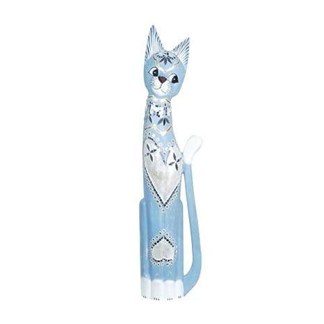 CAPRILO Figura Decorativa de Madera Pintada Gato Azul Adornos y Esculturas. Decoración Hogar. Regalos
