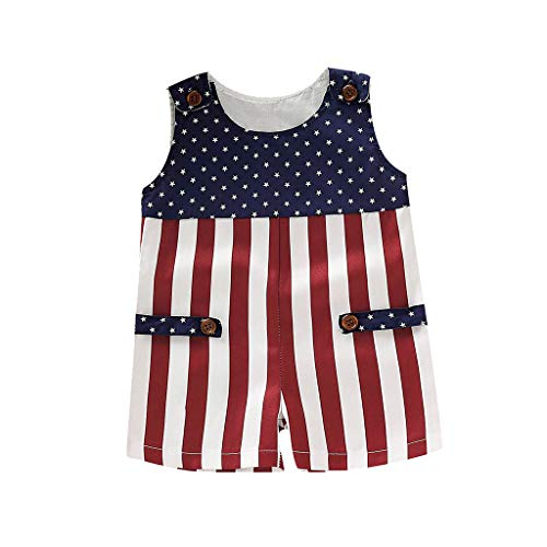 Infant Baby Outfits 4th of July Patriotic Sleeveless Button Romper Jumpsuit Stars Striped Print Bodysuit for Girls Boys Red