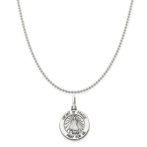 Sterling Silver Antiqued Infant Of Prague Medal on a Sterling Silver Ball Chain Necklace, ()