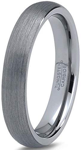 Charming Jewelers Tungsten Wedding Band Ring 4mm Men Women Comfort Fit Grey Dome Brushed Size -