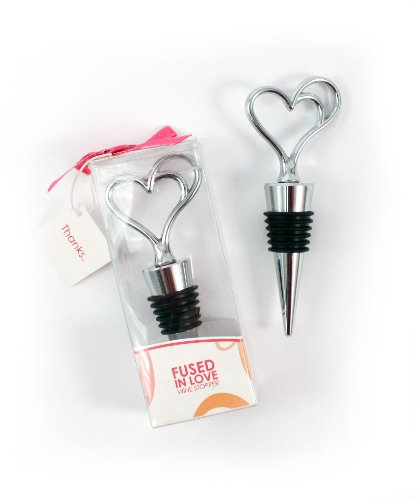 Weddingstar Fused in Love Double Heart Wine Stopper in Gift Packaging