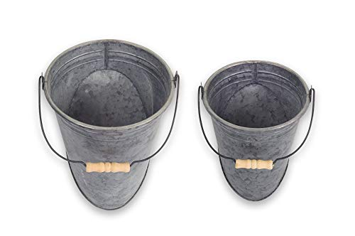 Melrose Wall Pail With Handle Metal, Set of 2, 7.5 x 9.75 Inches, 9 x 12 Inches
