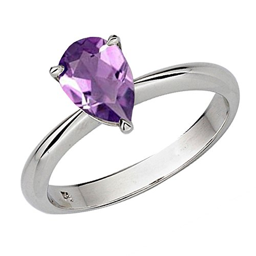 Dazzlingrock Collection 10K 9X7 MM Pear Cut Amethyst Ladies Solitaire Bridal Engagement Ring, White Gold, Size 6.5 ()