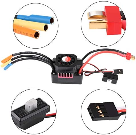 Crazepony-UK 3660 3300KV Brushless Motor with 60A ESC Electronic Speed Controller And Aluminum Heat Sink Waterproof Combo Set 5mm Shaft for 1/10 RC Car