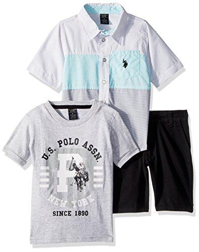 (U.S. Polo Assn. Little Boys' Short Sleeve Shirt, T-Shirt Pant Set, Printed El Black Short Multi Plaid, 4)