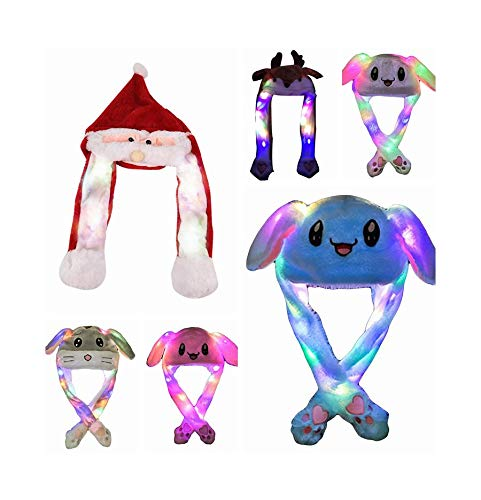 Hat with Moving Ears with LED Lights Plush Animal That Moves Ears, Plush Hat with Moving Ears and Flash Light, Headband Toys Unisex Interesting Gift Toy, Birthday Gift for Girl Friends/Children