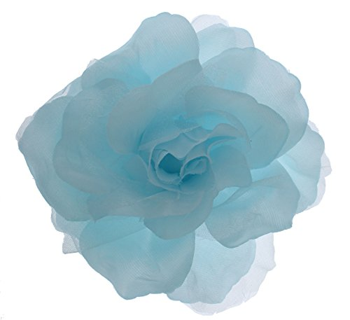 Accented Flower Brooch - Women's Dramatic Shimmer Rose Flower, Pin, Clip, Hair Tie (Pastel Blue)
