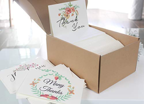 Thank You Cards Pack Of 100 - Blank Thank You Notes - Floral Water Colors - 4 X 6 Inches Thick White Note And Envelope - Personal And Business Use - Wedding And Baby Showers Photo #5