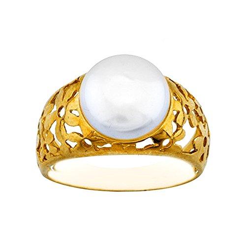 Bague 18k perle d'or fleurs de centre feuilletée [AA7009]