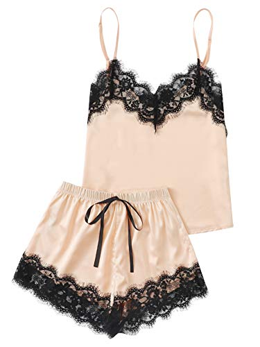MAKEMECHIC Women's Lace Satin Sleepwear Cami Top and Shorts Pajama Set Champagne XS