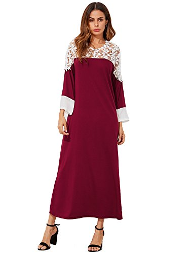 Floerns Women's Casual Maxi Skirt Long Sleeve Round Neck Sexy Lace Crochet Yoke Dress Red XL Round Yoke Dress
