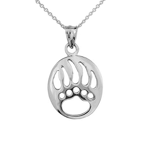 Fine Sterling Silver Cut-Out Bear Paw Charm Pendant Necklace, 16