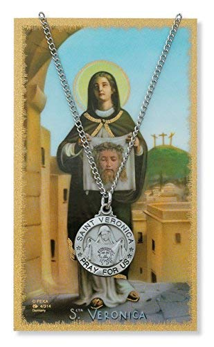 - Religious, Inspirational Catholic Medal, Patron Saint. Round Pewter Silver St. Veronica Medal & 18