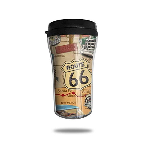 HMDEI Vintage Route 66 (2) Coffee Cup Reusable Travel Office Home Coffee Mug with Lid ()