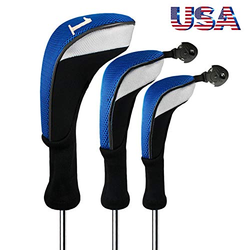 Golf Club Head Covers Woods Driver Fairway Hybrid 3 Set, Headcovers Men Women Long Neck 1 3 5 7 X with Interchangeable Number Tag, Fit Nike Ping Mizuno Titleist 460CC (Blue, Driver&Fairway&Hybrid)