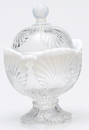 (Covered Sugar Bowl - Shell - Crystal French Opalescent Glass - Mosser)