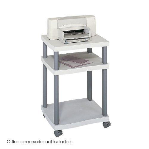 Safco Printer Stand - 2 x Shelf(ves) - 29.3quot; Height x 20quot; Width x 17.5quot; Depth - Plastic - Gray by Safco by Safco