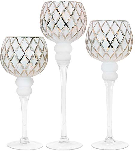 """Galashield Candle Holders Set of 3 Glass Hurricane Votive Tealight and Floating Candle Stand Centerpieces for Wedding Table Silver/White (16"""", 13.5"""", 12"""" High)"""