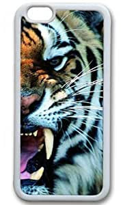 Tiger Roar Customized Rubber White iphone 6 plus Case By Custom Service Your Perfect Choice