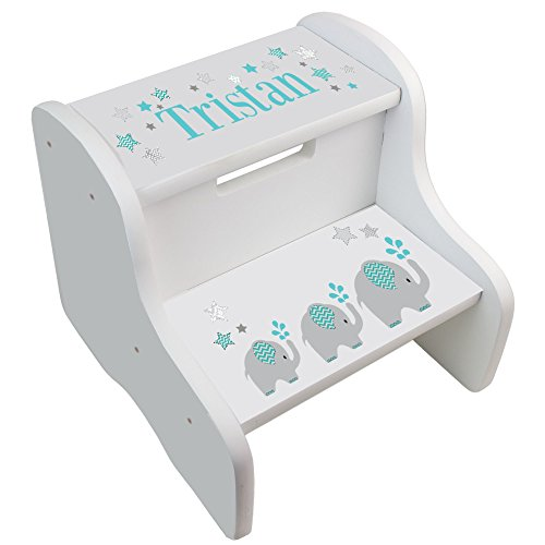 - Personalized Elephant Boy White Step Stool