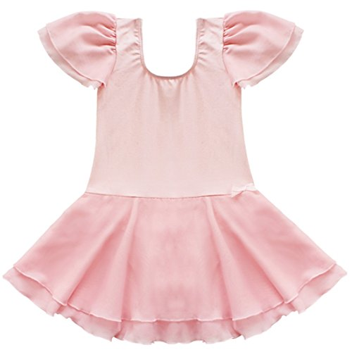 TiaoBug Girls Ballet Tutu Dance Costume Dress Kids Gymnastics Leotard Skirt size 2-3 (XS) Pink (Pink Dance Costume)