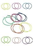 ILOVEDIY 10pcs(5pairs) Mixed Color Circle Hoop Earrings Basketball Wives Earrings 56mm Random ¡