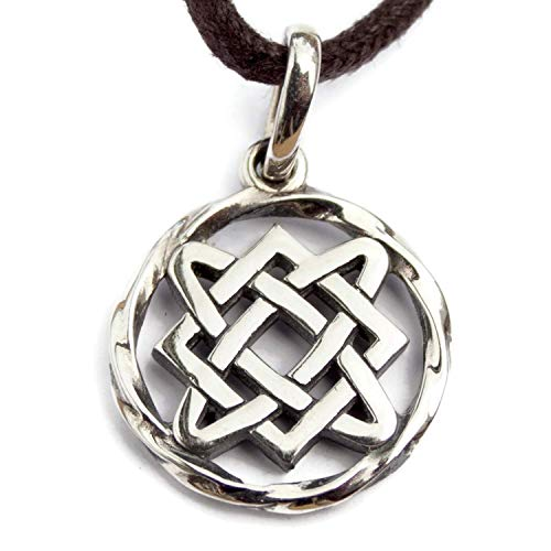 - 925 Sterling Silver Circle of Life Irish Celtic Endless Knot Pendant Necklace Slavic Symbol Lada Star Wiccan Pagan Jewelry for Women Strong Protective Amulet for Family Peace, Love and Understanding