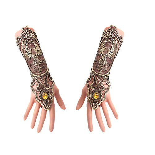 MineSign Halloween Costumes Fingerless Gloves Lace Bracelet Party Wedding Bridal (Gold Vintage Gloves)