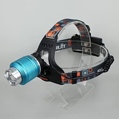 WindFire® 1800 Lumens CREE XM-L T6 U2 LED Waterproof 3 Modes Design Zoomable Rotating Headlamp CREE LED Headlight 18650 Rechargeable Battery Head LED Torch Flashlight with AC Charger and 2 x WindFire 4000mAh Rechargeable Batteries Portable LED Headlamp f