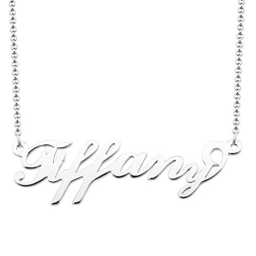 JewelryJo 925 Sterling Silver Personal Name Necklace Semi-Custom Made Customized Personalized Gift for Tiffany