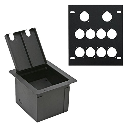 Elite Core Recessed Audio Stage Floor Box with 10 D Holes Punched Plate