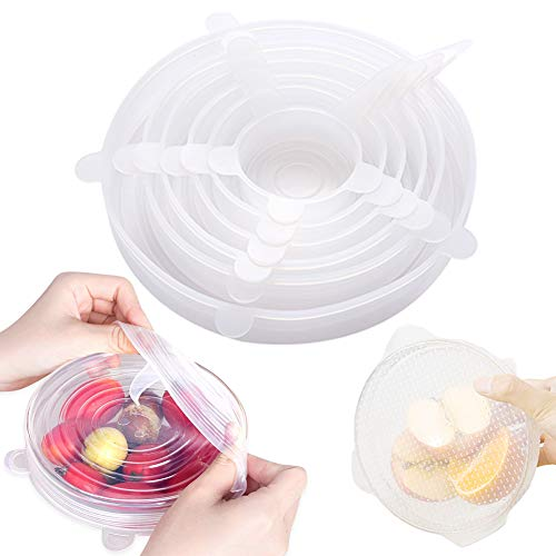jooe Silicone Stretch Lid Reusable, Set of 7-pack Various Sizes Food Sealing Top Covers, Expandable Plastic Wrap Set for Containers Bowls Dishes Cups Cans Fruits, FDA Approved Bpa Free, White