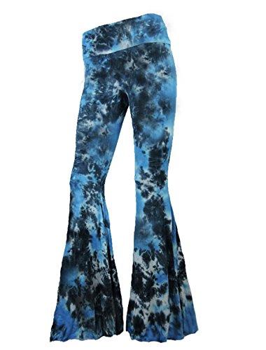 Sugar Rock Women Paisley Palazzo Hippie Pants Fold-Over Waist Bell Bottom Leg,Turquoise - Hippie Paisley