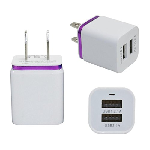 Price comparison product image Mchoice Home Travel Dual Port AC USB Wall Charger (Purple)