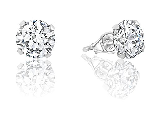 - Sorel Stud Earrings Swarovski Zirconia Platinum Plated Sterling Silver Round Cut - 4 cttw