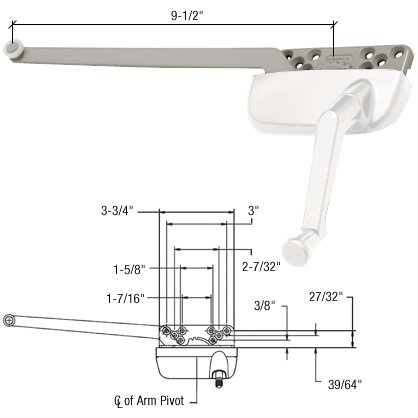 C.R. LAURENCE EP24187 CRL White Right Hand Ellipse Style Casement Operator with 9-1/2