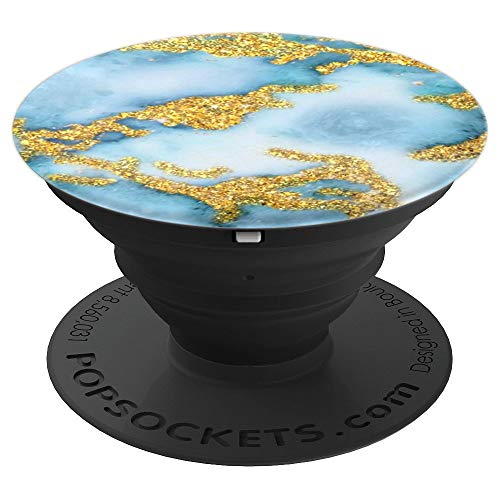 Pop Socket Marble Light Blue White And Gold Design - PopSockets Grip and Stand for Phones and Tablets