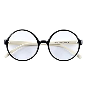Agstum Retro Round Glasses Frame Clear Lens Fashion Circle Eyeglasses 52mm (Black/Off-white, 52mm)