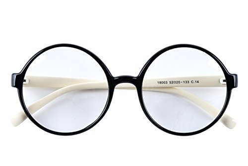 Agstum Retro Round Glasses Frame Clear Lens Fashion Circle Eyeglasses 52mm (Black/Off-white, - Eyeglasses Frames Circular