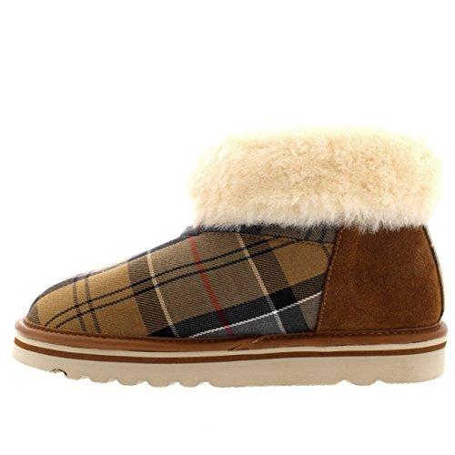 Womens Tartan Boot Tartan Boot Fur Faux Barbour Ashley Dress Slipper Warm Ankle Winter rvtxUrqw