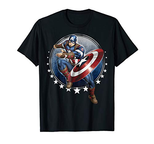 Captain America Star - Marvel Captain America Shield Throw Stars Graphic T-Shirt