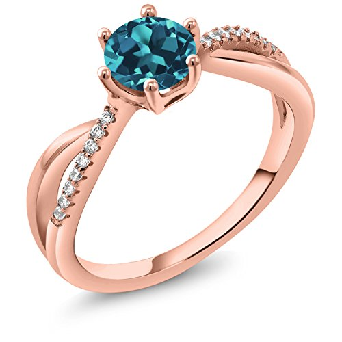 Gem Stone King 0.94 Ct Round London Blue Topaz 18K Rose Gold Plated Silver Ring (Size 6)